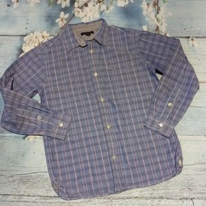 Tommy Hilfiger Boy Size L Blue Button Down Shirt
